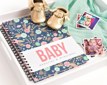 Baby Book - FLORAL - Modern Baby Book || CORAL