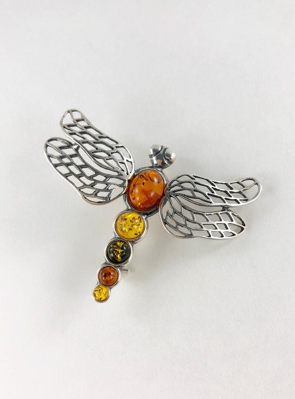 Amber dragonfly brooch 925 Silver
