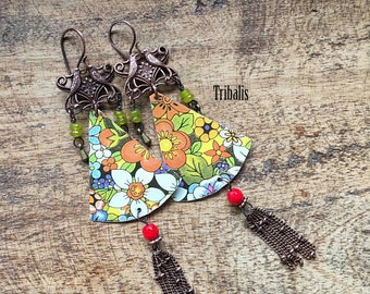 Tin Jewelry . Floral Tin earrings 166 - Recycled Tin Jewelry and glass . Birds Boho Southwest Artisan Made Earthy Rustic Beaded earrings