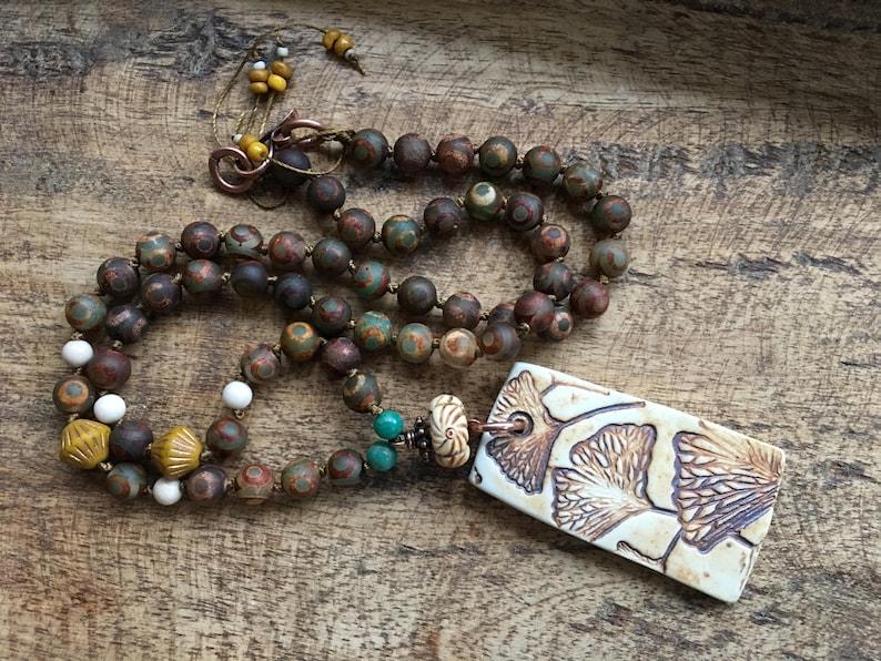 Knotted Bohemian Tribal Statement long Necklace Rustic Bohemian Ginkgo Biloba Necklace Southwestern Porcelain Leaf Ginkgo Ceramic