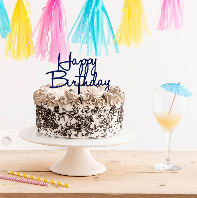 Happy Birthday Celebration Cake Topper Script Party