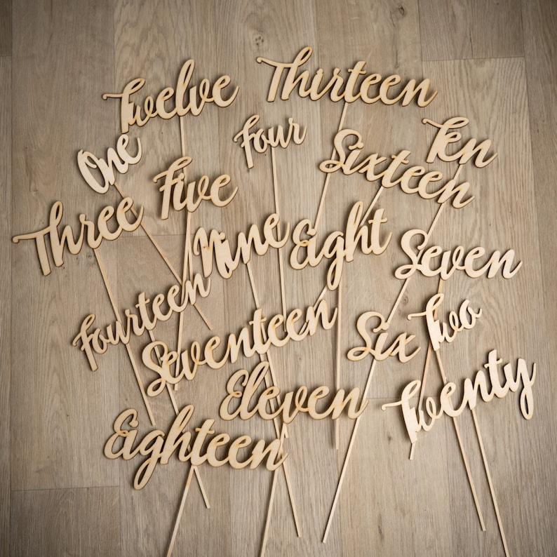 Modern Script Wooden Wedding Table Numbers  Rustic Hand image 0