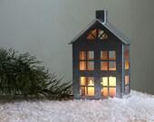 Tin house candle holder // Zinc Lantern // Modern home decor // housewarming present / window display / FREE SHIPPING / christmas decoration