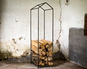 Log holder // Firewood Storage for indoors or outdoors. Hand forged from durable iron // Free shipping