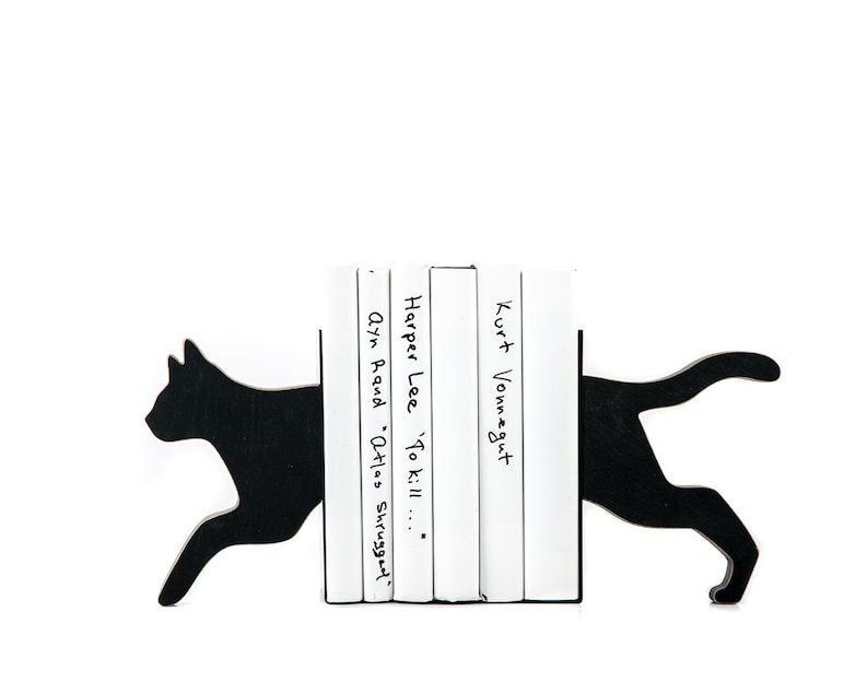 Wooden Bookends Running Cat for reading cat lovers image 0