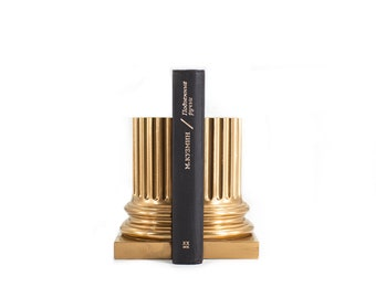 Architectural Neoclassical Style Pillar Bookends in Silver Metallic