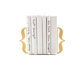 Metal Bookends Bracket Curly Braces // Metal Brackets for a Mod Glamor Bookshelf // Christmas / Housewarming Gift // Free Shipping Worldwide