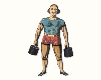 Vintage style Circus Strong Man // Movable Art Doll