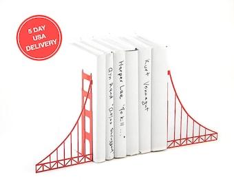 Metal Bookends // Golden Gate Bridge // Cool Home Decor Gift for A San Francisco Housewarming Party
