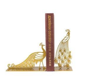 Modern Metal Bookends // Golden Peacock //  FREE SHIPPING