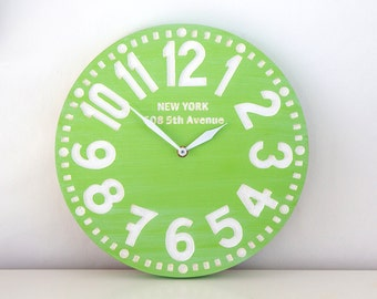 Vintage clock -New York- pseudo vintage birch clock hand painted  happy fresh apple green color