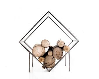 Modern Metal Log Holder // Minimalist Firewood Storage Box Container for indoors or outdoors // Kvadrat