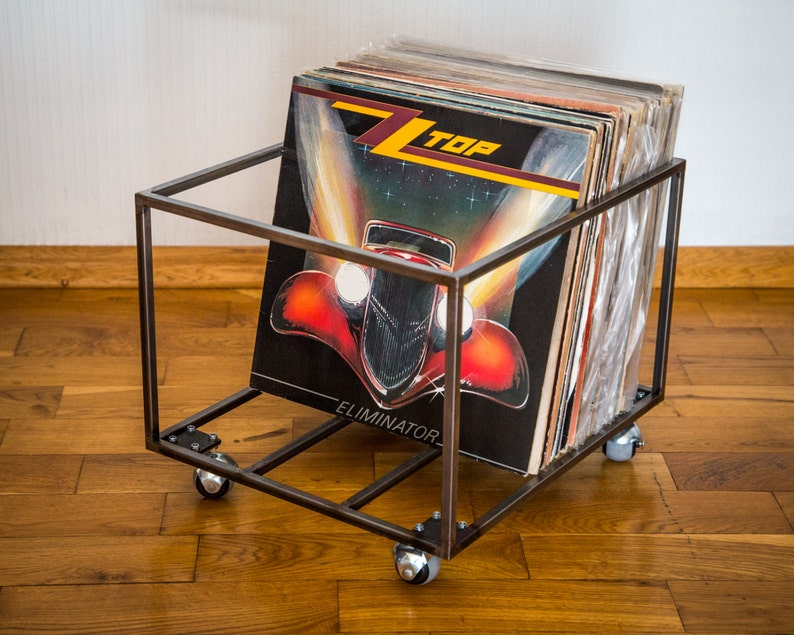 LP storage // Album crate // Record box on  rotating wheels // image 0
