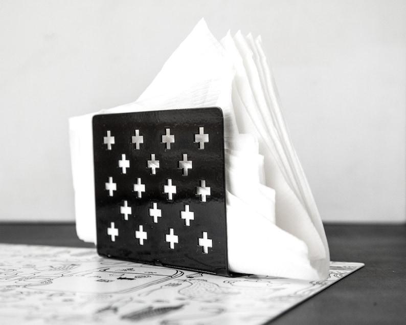 Modern Napkin holder dispenser Black Swiss Crosses image 0