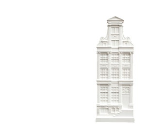 Architectural plaster model Facade of a House in Amsterdam II. Unique wall art. Perfect gift for architecture and design lover.