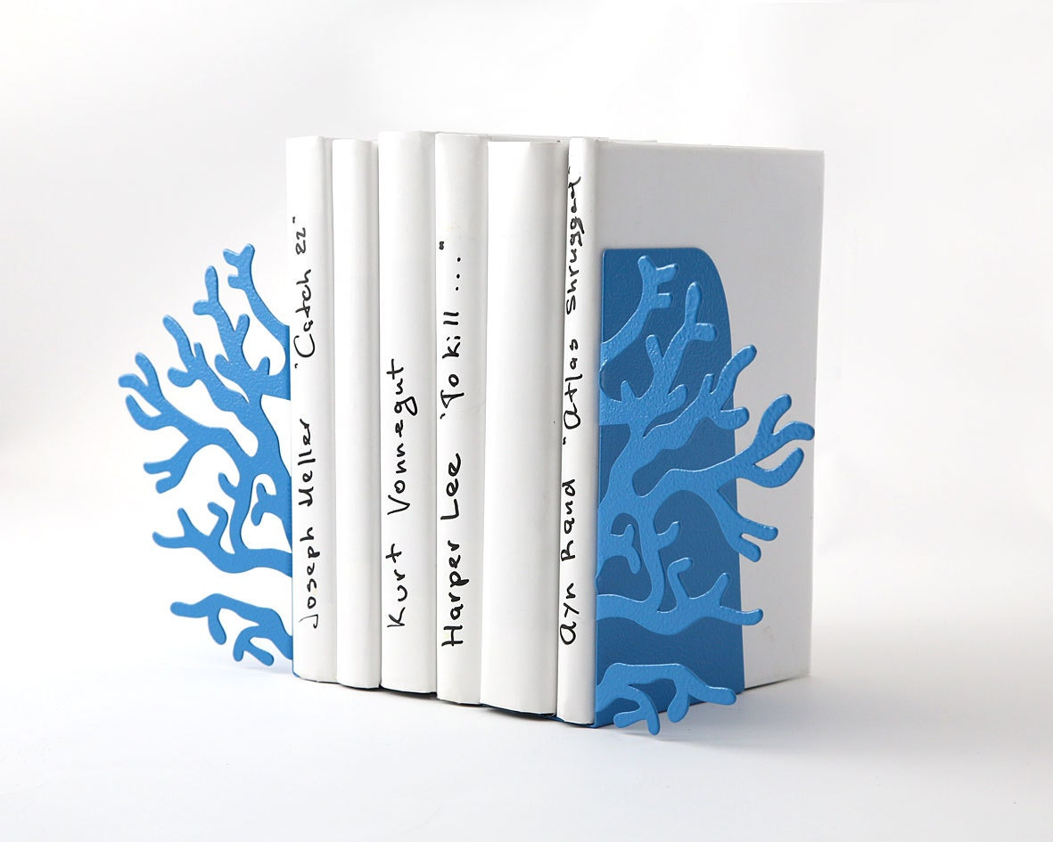 Metal Bookends -Corals Blue - modern home unique book holders // beach house must // nursery sea theme perfect // FREE WORLDWIDE SHIPPING