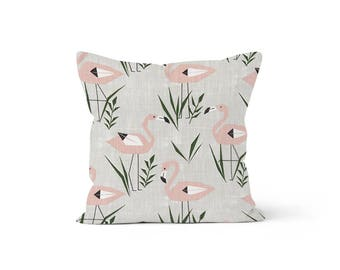 Flamingo Pillow Cover - Lumbar 12 14 16 18 20 22 24 26 Euro - Hidden Zipper Closure