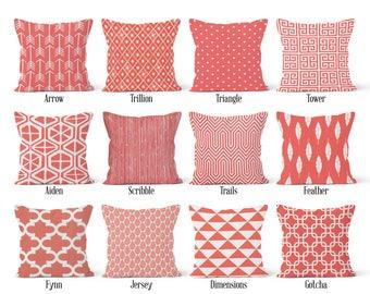 Coral Pillow Cover, Decorative Throw Pillow Covers, Euro Pillow Sham 16 x 16, 18 x 18, 20 x 20, 22 x 22, 24 x 24, 26 x 26