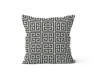 Black Greek Key Pillow Cover - Towers Onyx  - Lumbar 12 14 16 18 20 22 24 26 Euro - Hidden Zipper Closure