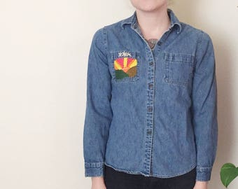 Embroidered Shirt | Upcycled Clothing Denim Shirt Hand Embroidered Women's Shirt | Button Up Blouse | Embroidered Denim Shirt Flowers Sunset