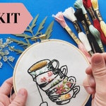 Embroidery Kit DIY Kit | Hand Embroidery Pattern | Craft Kit | Modern Floral Embroidery