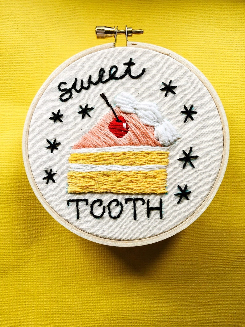 Sweet Tooth Cake Embroidery Hoop Art Bakers Gift image 0