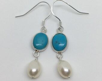 Turquoise Earrings, Pearl, Sterling Silver, December Birthstone, Christmas Gift For Her, Gift for Women, Wedding, Blue, Dangle Earrings