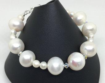 Pearl and Swarovski Crystal Bracelet, Bridal, Sterling Silver, June Birthstone, Gift For Her, Wedding, Gift For Women, Bridesmaid Gift