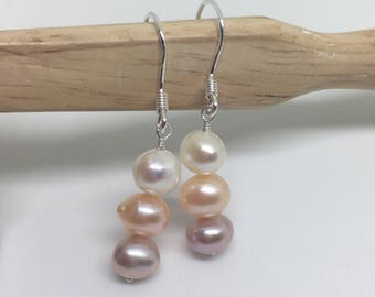 Pearl Earrings, Sterling Silver, Christmas Gift, Gift for Her, Wedding, Bridal, Bridesmaid Gift, Gift for Women, Dainty Earrings, Gift, Pink