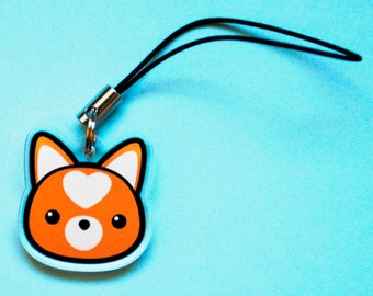 Shiba Inu Charm, Doge Head Cell Phone Strap, Cute Puppy Accessory, Kawaii Dog Breed Charm, Red Orange Shibe, Animal Lover Gift, Heart Face