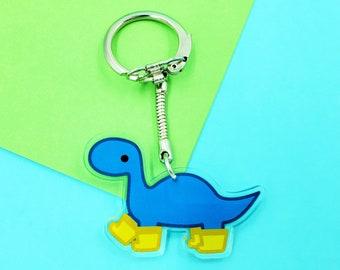Rainy Day Dino Keychain: Blue Dinosaur with Yellow Rainboots, Brontosaurus with Galoshes Key Chain, Kawaii Accessories, Cute Brachiosaurus