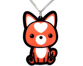 Shiba Inu Necklace, Cute Doge Pendant, Kawaii Dog Meme Jewelry, Heart-Shaped Urajiro Markings, Red Orange Japanese Canine