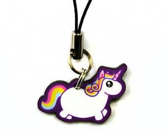 Chubby Unicorn Cell Phone Charm, Kawaii Rainbow Fat Pony Cell Strap