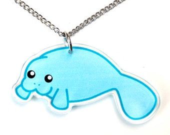 Manatee Necklace, Blue Sea Cow Pendant, Cute Marine Mammal, Kawaii Teal Sea Life Jewelry, Chubby Manatee