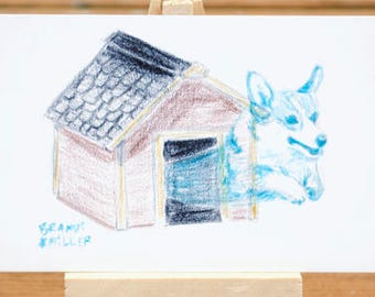 Ghost Corgi Drawing, Haunted Dog House Art, Cute Halloween Artwork, Spoopy Colored Pencil, Tiny 4x6 Wall Art, Animal Spirit Original