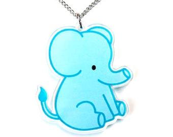 Elephant Necklace, Blue Chubby Elephant Pendant, Cute Zoo Animal Jewelry, Kawaii Circus Animal Baby