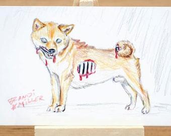 Zombie Shiba Inu Drawing, Undead Dog Art, Horror Artwork, Macabre Colored Pencil Drawing, Tiny 6x4 Wall Art, Original Mini Art