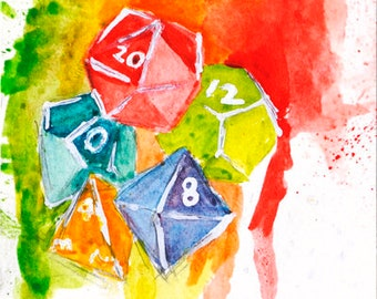Dice Set Rainbow Watercolor Painting Art Print: Tabletop Gaming and Dungeons & Dragons Polyhedral Die Geeky Wall Art