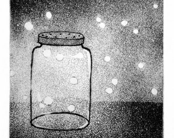 Catching Fireflies / Lightning Bugs in a Mason Jar: Hand Printed Intaglio Printed Artist's Proof, Hand Pulled Print, Wall Artwork