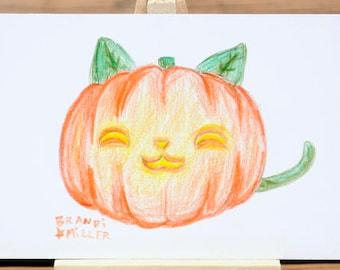 Cat Pumpkin Drawing, Cute Halloween Kitty Jack-o-lantern, Kawaii Fall Colored Pencil Drawing, Tiny 4x6 Wall Art, Original Miniature Artwork