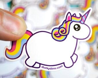 Chubby Unicorn Sticker: Fat Rainbow Pony Weatherproof Vinyl Stickers, Colorful Funny Mythical Creature, Kawaii Cute Uni, Kawaii Collection