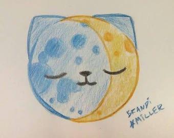 Moon Cat Drawing, Cute Lunar Kitty Crescent Moon Art, Kawaii Full Moon Colored Pencil Drawing, Tiny 4x6 Wall Art, Original Miniature Artwork