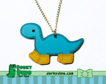 Blue Dinosaur Necklace: Brontosaurus Wearing Rain Boots, Rainy Day Dino with Galoshes