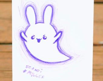 Ghost Bunny Drawing, Cute Rabbit Spirit,  Purple Halloween Colored Pencil Drawing, Kawaii Animal Tiny Wall Art, Original Miniature Artwork