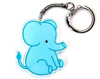 Elephant Keychain, Blue Chubby Elephant Key Chain, Cute Zoo Animal, Kawaii Circus Animal Baby