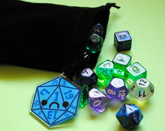 Dice Bag with Sad D20 with Critical Fail for Dungeons and Dragons (DND) or Tabletop Gaming, Twenty Sided Die Frowning Face