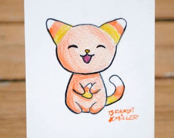 Candy Corn Cat Drawing, Cute Halloween Kitty, Orange, Yellow and White Colored Pencil Drawing, Tiny 4x6 Wall Art, Original Miniature Artwork
