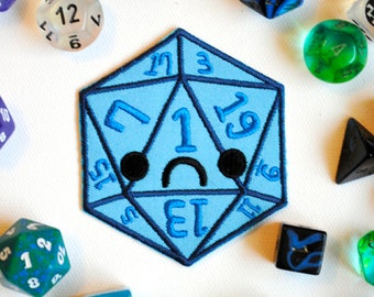 Critical Fail D20 Iron On Patch: Sad Blue Dice used in Tabletop Games like Dungeons and Dragons, Funny Gifts for Men, Gift for Geeky Girls