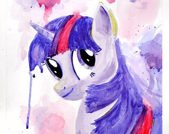 Twilight Sparkle My Little Pony Watercolor Painting Print, Dripping Splatter Paint in Pink & Purple, Children's Artwork, Friendship is Magic