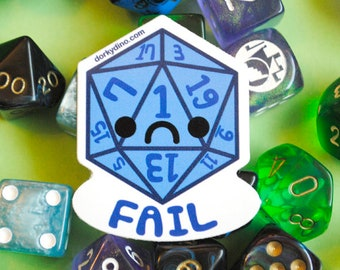 Sad D20 Sticker: Critical Fail Weatherproof Vinyl Stickers, Sad Blue Dice Failed, Natural 1 Dungeons and Dragons Tabletop Game